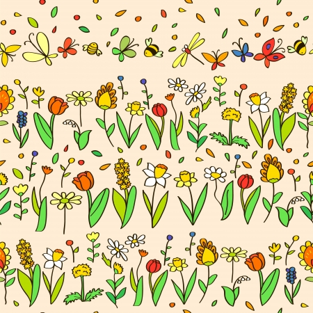 bee on white flower: Fresh spring cartoon flowers seamless pattern in pastel colors, vector