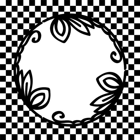 Round floral vignette black and white frame on checkered background card, vector Vector