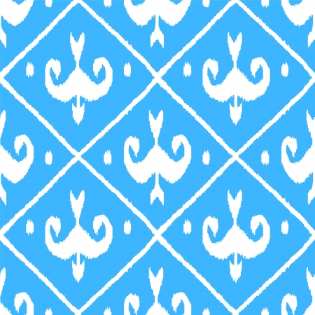 middle eastern: Ikat middle east traditional silk fabric seamless pattern in blue, vector