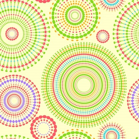 kaleidoscope: Colorful abstract seamless pattern with round shapes, vector