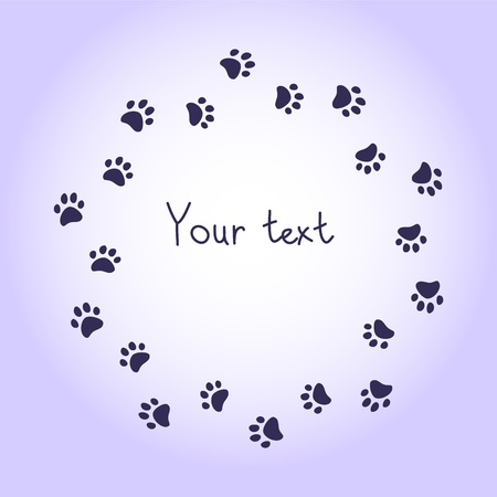 foot prints: Cat or dog paw prints violet round frame for your text background, vector