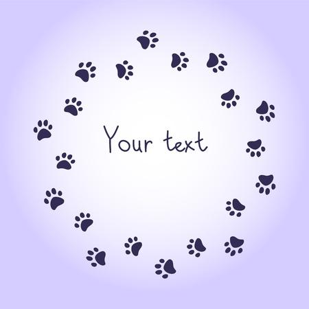 paw print: Pata del gato o del perro imprime marco violeta ronda para el fondo del texto, vector