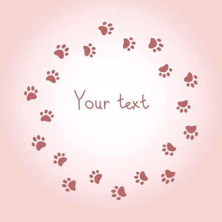 cat paw: Cat or dog paw prints pink round frame for your text background, vector
