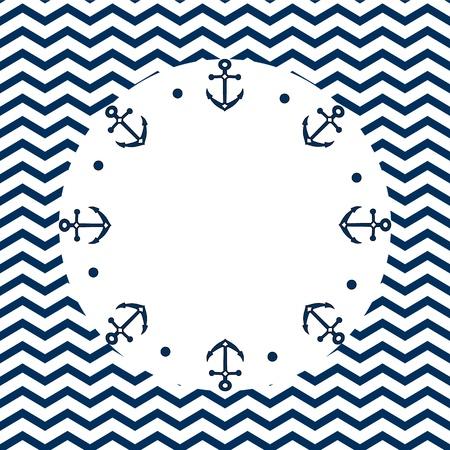 Rond bleu marine et cadre blanc avec des ancres et des points, sur un fond de chevron, vecteur