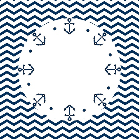 Round navy blue and white frame with anchors and dots, on a chevron background, vector Illustration
