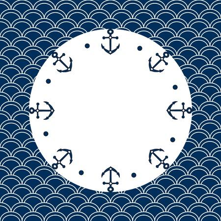 Rond bleu marine et cadre blanc avec des ancres et des points, sur un fond festonné, vecteur