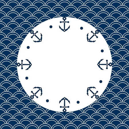 scallops: Round navy blue and white frame with anchors and dots, on a scalloped background, vector Illustration