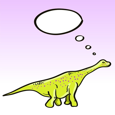 Prehistoric green dinosaur (diplodocus) character with a speech bubble, vector Vector