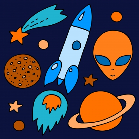 Colorful space elements set in orange and blue  spaceship, alien, stars, planets, vector Vector