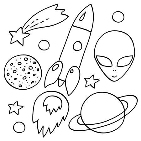 astronomie: Raumelemente in schwarz und weiß Raumschiff, alien, Sterne, Planeten, Vektor-Set