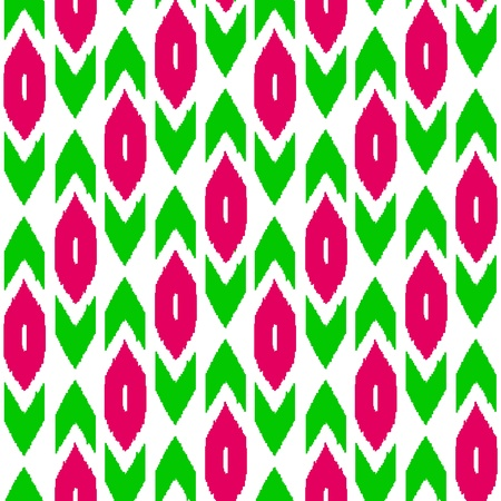 kilim: Ikat traditional middle east fabric in green and pink seamless pattern, vector