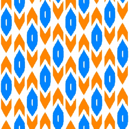 kilim: Ikat traditional middle east fabric in orange and blue seamless pattern, vector