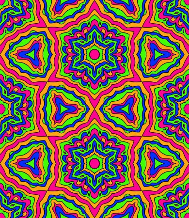 kaleidoscopic: Abstract crazy colorful kaleidoscope seamless pattern in pink and blue and green, vector Illustration