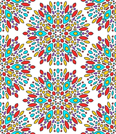 kaleidoscopic: Abstract colorful kaleidoscope seamless pattern in blue and red on white, vector Illustration