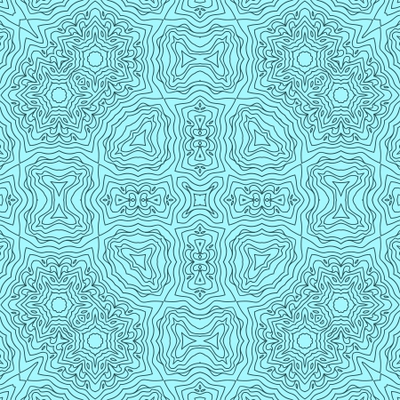 Abstract kaleidoscopic seamless pattern in blue, vector Vector