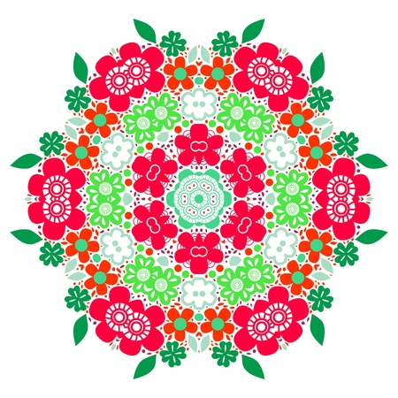rose petal: Flower mandala circle floral background in red and green, vector