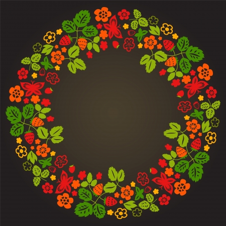 Strawberry flowers leaves and butterflies colorful wreath on black, vector Vector