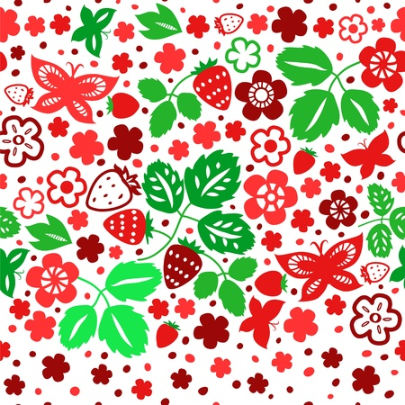 Red and green strawberry seamless pattern on white, vector Vector