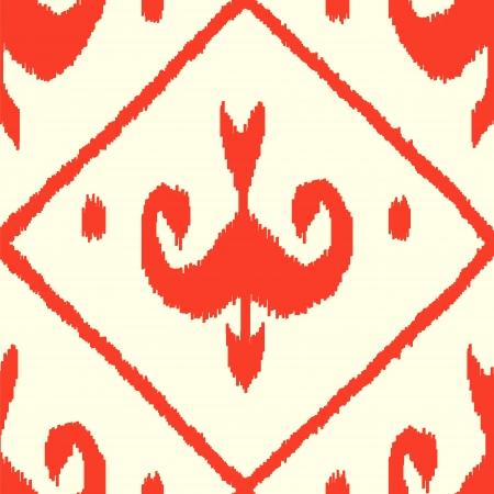 silk fabric: Ikat Oriente Medio tela de seda sin patr�n tradicional en rojo y blanco, vector