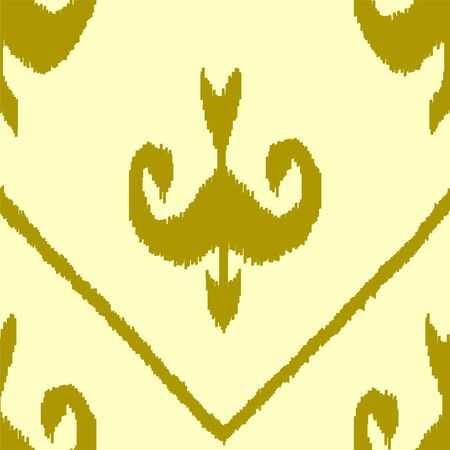 Ikat middle east traditional silk fabric seamless pattern in yellow and green, vector Vector