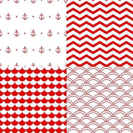 Navy vector seamless patterns set in red and white: scallop, waves, anchors, chevron