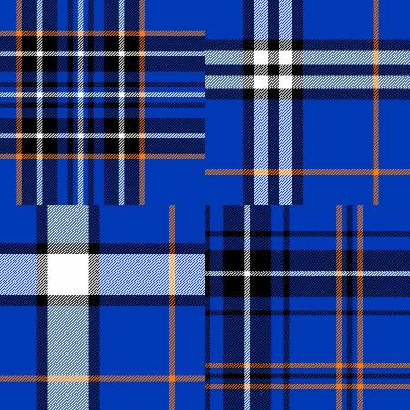 Tartan traditional fabric in blue seamless patterns set