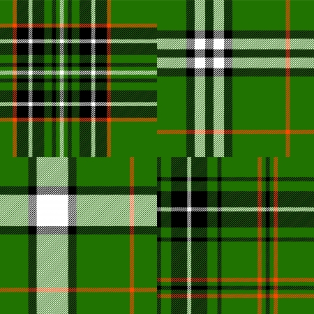 Tartan traditional fabric in green seamless patterns set