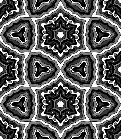 Abstract black and white kaleidoscope seamless pattern, vector Stock Vector - 19110700