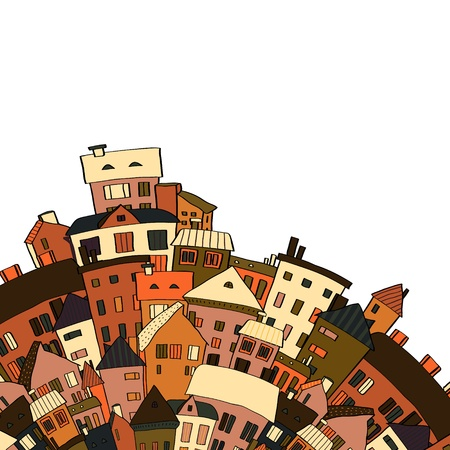 Old town panoramic background on white Illustration