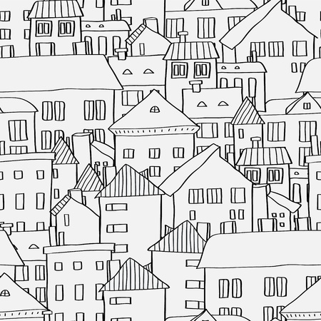 house sketch: Old town panoramic seamless pattern in black and white