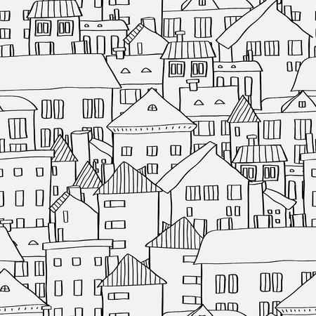 Oude stad panoramisch naadloze patroon in zwart en wit