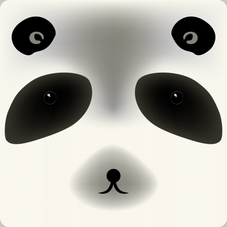 Cute cartoon panda bear face, background for a card Vector