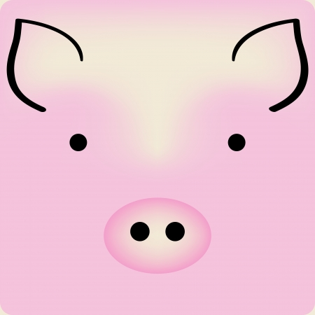 animal masks: Cute cartoon pink piggy face, background for a card Illustration