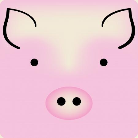 cerdo caricatura: De dibujos animados de color rosa alcancía cara linda, fondo para una tarjeta