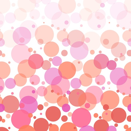 Colorful pink bubbles abstract seamless pattern on white Vector