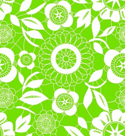 Weiß Häkeln Spitzen-Blumen Auf Grünem Nahtlose Muster, Vektor ...