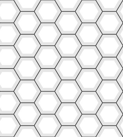 그리드: 흰색 육각형 추상 형상 원활한 패턴, 벡터 일러스트