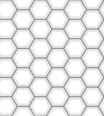 grid black background: White hexagon abstract geometric seamless pattern, vector