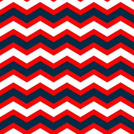 Abstract geometric chevron seamless pattern in blue red and white, vector Illustration