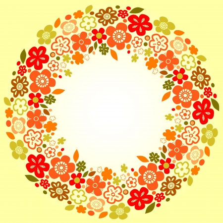 Floral colorful wreath red orange and green on yellow background for a card, vector Vector
