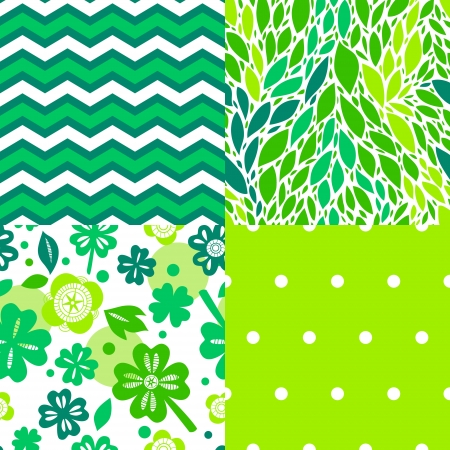 Fresh green leaves and plants seamless patterns collection, vector