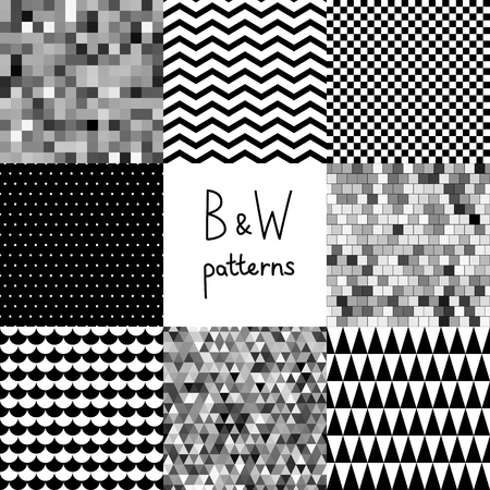 grid black background: Abstract black and white seamless patterns set Illustration