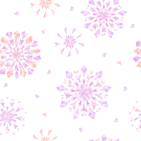 Diamond flowers or snowflakes seamless pattern in pink and white Stock Vector - 19311412
