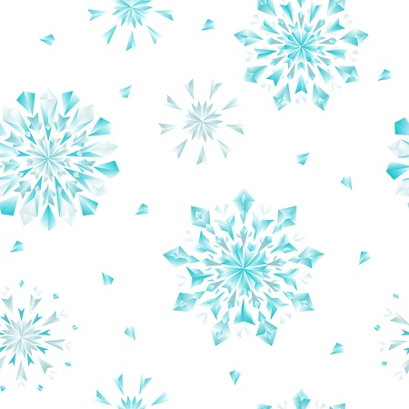 Diamond flowers or snowflakes seamless pattern in blue and white