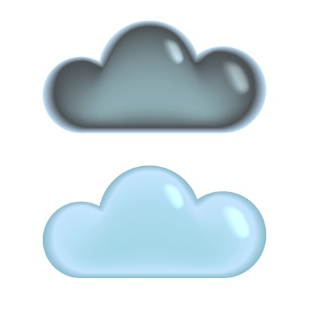 dark clouds: Grey and blue clouds silhouette icons set