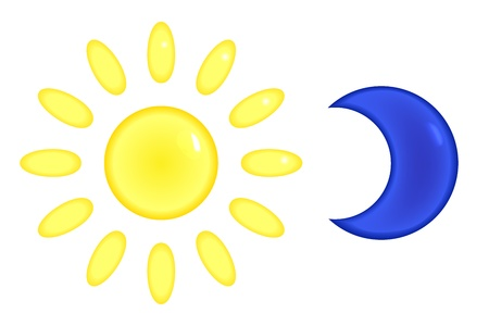 sun set: Bright sun and moon silhouette icons set Illustration