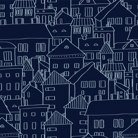 Panoramic old town seamless background in dark blue, vector Vector
