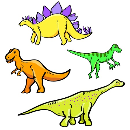 diplodocus: Colorful cartoon dinosaurs collection on white, vector Illustration