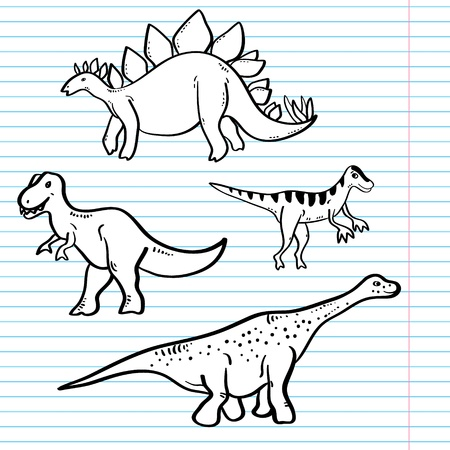 Black and white dinosaurs on a notebook sheet collection, vector Vector