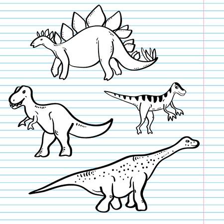 stegosaurus: Dinosaurios blancos y negros en una colección hoja de cuaderno, vector